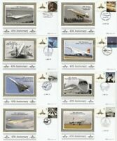 2 MARCH 2009 CONCORDE 40th SET OF ALL 8 BENHAM BSSP SMALL SILK FIRST DAY COVERS