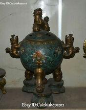 """24""""old Purple Bronze Gold Cloisonne Foo Fu Dog Lion Leo Incense Burner Censer"""