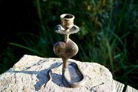 wunderschöner Kerzenhalter Schlange Kerzenständer 1 flammig aus Messing 14 cm