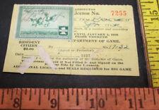 Vintage 1937 Washington Hunting & Fishing License