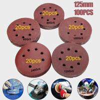 100pc 5 inch 125mm 60 80 100 120 240 Grit Hook Loop Mixed Sanding Disc Sandpaper