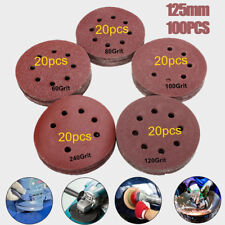 100pc 5''/125mm Mixed 60 80 100 120 240 Grit Hook Loop Sanding Disc Sandpaper