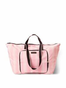Victoria's Secret Iconic Pink Stripe Packable Duffle Travel Tote Bag Shopper New