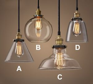 Glass Style Loft Industrial Pendant Light Edison Retro Vintage Lamp