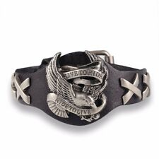 Herren Leder Adler Armband Schmuck Biker Chopper Bracelet Men Eagle LIVE TO RIDE