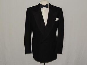Vintage 1940's heavy Double Breasted formal Tuxedo jacket coat 44 long