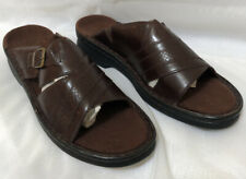 Clarks Open Toe Slide Sandals Women's Size 8M Brown Leather Slides Buckle