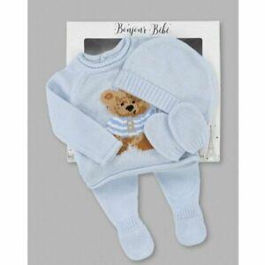 Baby Boys Spanish style 4 piece knitted bear set Newborn To 6 Months UK