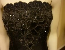 GORGEOUS EMBROIDERED  CUT WORK STRAPLESS BRIDESMAID PROM GRADUATION DRESS