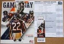 2015 Chicago Bears Washington Redskins Program w/Ticket & Roster Sheet Forte