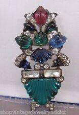 Sterling 1920s Fishel Molded Glass Fruit Salad Rhinestone Flower Brooch Figural