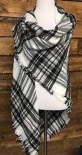 Tartan Black, White and Gray Plaid Oversized Blanket Scarf