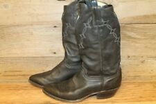 MENS ABILENE BLACK LEATHER COWBOY WESTERN BOOTS SZ 9.5