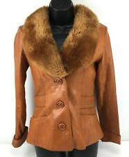 Vintage Sheep Mates Leather Jacket Fashion Coat Fur Collar Brown Lined