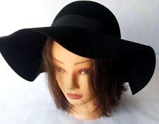 Black Wool Felt Soft Extra Wide Large Brim Floppy Fedora Hat For Women New