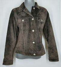 Eddie Bauer Women's Seattle Suede Washable Leather Jacket Brown Small