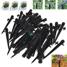 50x Adjustable Water Flow Irrigation Drippers on Stake Emitter Drip System 8hole