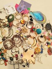 & lots of singles, crafters, makers treasure Earring Lot vintage to mod. 14 pair