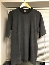 Vtg Striped T Shirt Fruit Of The Loom Black Grey XL 90s Single Stitch