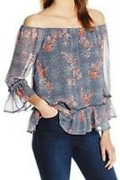 Lucky Brand Off Shoulder Peasant Top Small Blue Floral Sheer Overlay Ruffle Boho