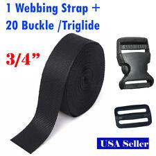 "3/4"" Inch 10 Yards PP Webbing Strap + 10 Buckle 10  Triglide Sewing Tool 2cm DIY"