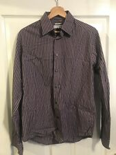 Versace Purple And Grey Striped Pattern Trend Fit Size 15.5 / 39
