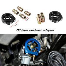 Black Oil Filter Adapter Sandwich Plate Mount Gauge Pressure Temp Sensor 1/8 NPT