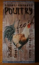 Farm Fresh Country Rooster Chicken Farm Kitchen Wood Plank Home Decor Sign - NEW