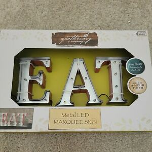 Metal Eat Sign w/ Lights Retro Marquee Metal Letters EAT For Kitchen or Dining