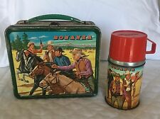 Vintage 1963 Bonanza Metal Lunch Box with Thermos by Aladdin