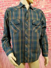 Fossil Mens L Vintage Fit Plaid Pearl Snap Long Sleeve Western Casual Shirt