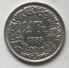 1/2 Franken 1959 B Schweiz .835 Silber KM#23
