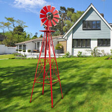 8 Ft Metal Windmill Yard Garden Decoration Weather Rust Resistant Wind Mill Red