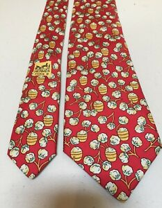 Hermes Paris 100% Silk Neck Tie Red With Barrels of Cotton Ball Pattern 7496 IA
