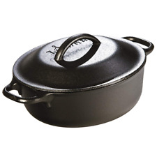 LODGE Cast Iron Dutch Oven Pot Soup Bread Baking Cooking Roast Grill Lid Small