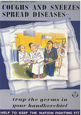ROBERT  OPIE  ADVERTISING  POSTCARD  -  COUGHS  AND  SNEEZES  SPREAD  DISEASES