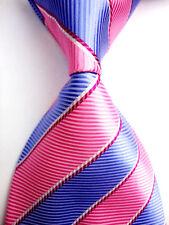 New Classic Pink&Blue Striped WOVEN JACQUARD Silk Men's Suits Tie Necktie