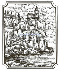 Ocean Lighthouse Scene Wood Mounted Rubber Stamp Northwoods Stamp M9363 New