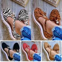 New Women Summer PU Leather Flats Shoes Sandals Tassel Beach Casual Size 35-43