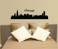 "36"" Chicago CityScape City Skyline Wall Decal Sticker Silhoutte Mural Art"