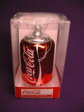 COKE COCA - COLA - SODA CAN - GLASS XMAS ORNAMENT BY KURT ADLER NEW IN PACKAGE.