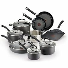 T-fal Nonstick Cookware Set 14 Piece Kitchen Cooking Pans and Pots Hard Anodized