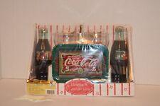 Vintage 1996 Christmas Collectible Series Coca-Cola Glass Tray Gift Set
