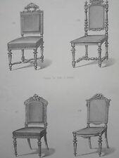 LOUIS XVI chaise fantaisie Chinoise GRAVURE le MAGASIN de MEUBLES V.QUETIN 19éme