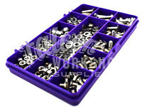 460 ASSORTED A2 STAINLESS M3 SLOTTED CSK MACHINE SCREWS NYLOC NUTS WASHERS KIT