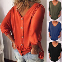 Summer Womens 3/4 Sleeve Back Buttons T Shirts V Neck Solid Top Blouse Plus Size
