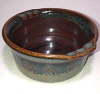 Vintage Art Pottery Studio Stoneware Bowl Glazed Signed Brown Blue & Green Glaze