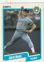 FREE SHIPPING-MINT-1990 Fleer Chris Bosio #316 BREWERS PLUS BONUS CARDS