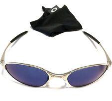ULTRA RARE OAKLEY A WIRE SUNGLASSES Silver Frames w/ Blue Iridium Lenses