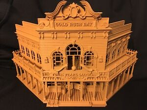 Miniature Old West #1 Saloon/Hotel Built Ready HO Scale w/ Interiors Wood Color